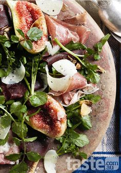 Impress your partner with this Italian cured beef and fig salad on Valentine's Day. (Recipe by Sophia Young; Photography by Ben Dearnley)