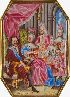 Miniature on enamel, 1717. A good example of ancient Russian art as lubok painting, where portraits are painted in a colorful and childish manner~~  PETER I's FAMILY IN 1717: Peter I; his second wife Catherine I; Peter's eldest son Alexey born by his first wife; Peter's youngest son Peter who will die as a child; Peter's daughters Anna and Elizabeth, future Elizabeth I.