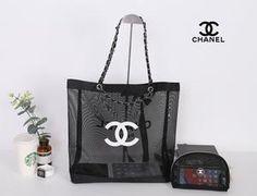 5e3236f30cd7a2 Chanel Paris CC Logo Black Ribbon Mesh Silver Hardware Beach Tote Shopping  Bag and Makeup Organiser Pouch VIP GIFT