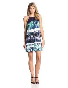 The laskie is made up of a beautiful palm digital print fabric  its the perfect dress to throw on when youre poolside this summer. #Fashion  #Amazon