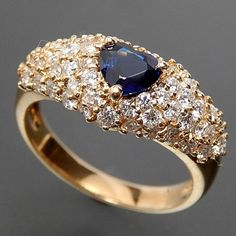 MJC 14K YELLOW GOLD HEART SHAPED CEYLON SAPPHIRE & 1.00 CTW DIAMONDS RING – Gold Stream Boutique