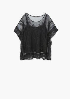 Кружевная блузка  - Рубашки - Женская | MANGO МАНГО Россия (Российская Федерация)