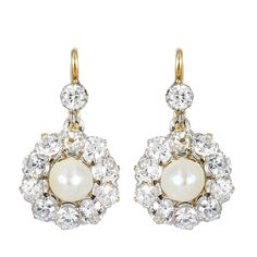 Antique Pearl Diamond Earrings | From a unique collection of vintage dangle earrings at http://www.1stdibs.com/jewelry/earrings/dangle-earrings/