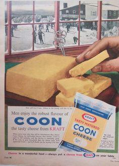 KRAFT COON TASTY CHEESE AD 1961 original vintage AUSTRALIAN kitchen advertising