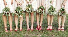 mismatched bridesmaid dresses, red bridesmaid shoes, bridesmaid feet picture, bridesmaids, bridesmaids advice, bridesmaids style, bridesmaid...