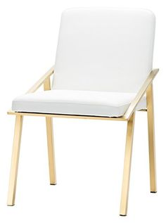 Nika Dining Chair in White and Brushed Gold Stainless Steel by Nuevo - HGTB421