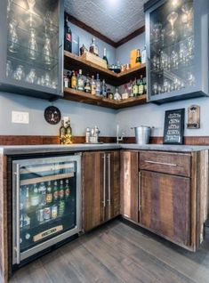 65 Best and Cool Home Bar Design Confused to make a bar room? On the topic of design for our favorite home is to discuss the design of the bar room that will be in our home. Wet Bar Basement, Basement Bar Designs, Home Bar Designs, Basement Ideas, Basement Bathroom, Modern Basement, Basement Finishing, Basement Renovations, Small Basement Bars