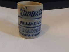 WHITE'S UTICA ADVERTISING MINI MUG; THUNER'S RELIABLE FURNITURE AND STOVE HOUSE #WHITESUTICAPOTTERY