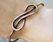 Infinity Knot Bangle, Oxidized Copper, Wire jewelry