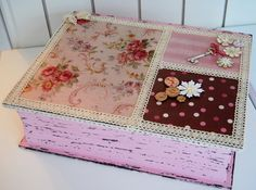 Painted distressed box with lace trim and Mod Podge.
