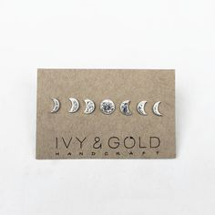 Sterling Silver Phases of the Moon Stud Earring Collection. Mini Set. Regular Set. Moon Phase Jewelry. Lunar Inspired Earrings. by IvyandGoldHandcraft on Etsy https://www.etsy.com/nz/listing/150157571/sterling-silver-phases-of-the-moon-stud
