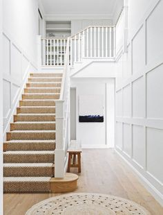 Hamptons style beach house renovation is part of home Renovation Stairs - Ralph Lauren played a part in this beach house renovation, but so did the Hamptons and classic European design Take a tour of this lightfilled home House Design, House, Beach House Interior, Hamptons House, New Homes, House Staircase, Coastal Living Rooms, Renovations, White Staircase