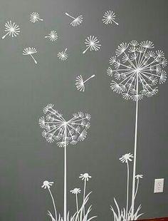 Flowers / Floral Mural / Wall Art / Chalkboard Art Design Inspiration for Spring time Dandelion Art, Dandelion Designs, Dandelion Seeds, Dandelion Drawing, Dandelion Wallpaper, Dandelion Wall Decal, Window Art, Chalk Art, Embroidery Designs