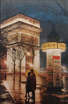 "frenchvintagegallery: "" Arc de Triomphe by night, Paris 1960s """