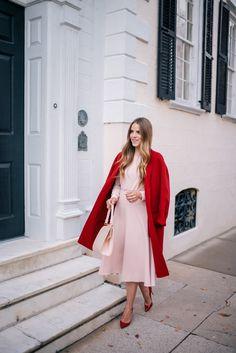 Gal Meets Glam Blush Pink Dress & Red Coat - Maje dress, Vince coat, Louboutin pumps & Mansur Gavriel bag