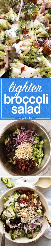 Broccoli Salad with Lighter Creamy Dressing – plenty of it, with great flavour! Broccoli Salad with Lighter Creamy Dressing – plenty of it, with great flavour! Veggie Recipes, Salad Recipes, Vegetarian Recipes, Cooking Recipes, Healthy Recipes, Broccoli Salad, Vegetable Salad, Vegetable Dishes, Raw Broccoli