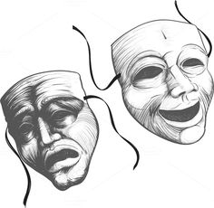 Two classic theater masks a sad and by sharpner on @creativemarket