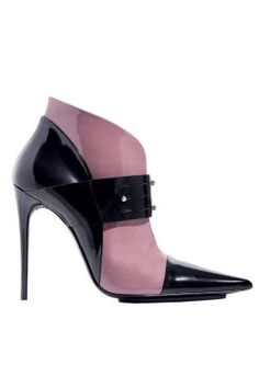 Fall and Winter Heels: Etro Black and Mauve Front Strapped Bootie