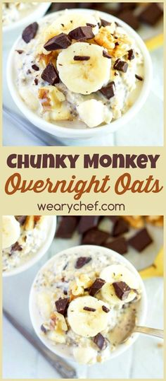 This overnight oats recipe with dark chocolate and banana makes for a deliciously satisfying and easy breakfast!: