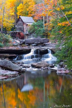 The Glade Creek Grist Mill at Babcock State Park - West Virginia, USA