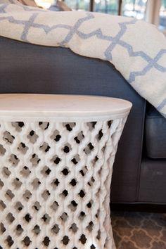 LIVING ROOM - Odegard Carved Marble Quatrefoil Side Table; Liepold Design Group LLC