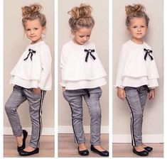 Mädchen Rüschenhemd & Hose Set – Loretta Cornell – Join in the world of pin Little Girl Fashion, Toddler Fashion, Fashion Kids, Spring Fashion, Style Fashion, Babies Fashion, Fashion Black, Fashion Trends, Outfits Niños