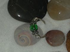 Sterling Silver wire ring with Bali Sterling Silver Beads and Green Czech Glass bead