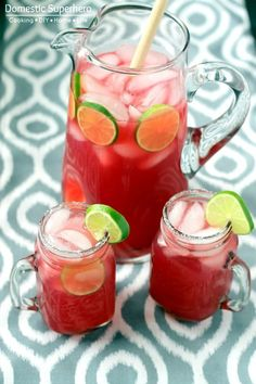 Pomegranate Limeade - this is alcohol free but could easily be made into a poolside/patio cocktail with a little rum or vodka. Yum!