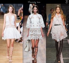Spring 2015 fashion trends Heavenly lace.  If it's spring, it's lace. But do expect to be fully blown away by it in 2015, as the heavenly renderings that took on the runways look like nothing you have seen before. White, sublime and playing the uniqueness card, lace for spring puts a new twist on femininity: