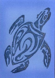 Sea Turtle hand carved stamp ATC