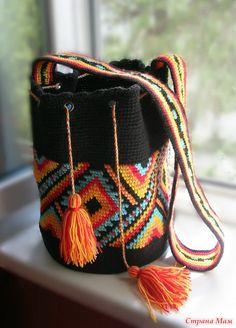 Модная вязаная сумка этно
