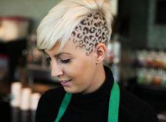 Snow Leopard Print Hair Hair By Aaron Brousseau Salon and Boutique Cheetah Hair, Leopard Print Hair, Snow Leopard, Short Haircuts, Short Hairstyles, Short Curly Hair, Curly Hair Styles, Cornrows, Shaved Hair Designs