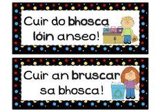 Prionta sa Timpeallacht - Black polkadot Irish Language, Primary School, Teaching Resources, Polka Dots, Activities, Learning, School Ideas, Ireland, Environment