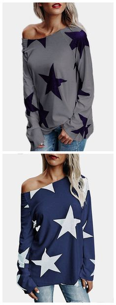 Grey Star One Shoulder Long Sleeves T-shirt