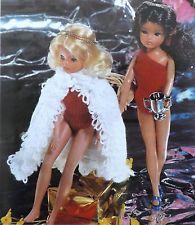 Sindy/barbie knitting pattern vintage teen/poupée maillot de bain/cape de bain R13248.