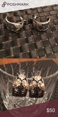 Black Hills gold earrings Beautiful detailed pattern. Excellent condition. Sterling silver with amazing black hills gold. Black Hills Jewelry Earrings