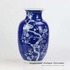 Hand paint winter sweet pattern wax gourd shape elegant blue white ceramic vase