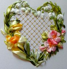 Ribbon heart with Daffodils and blue bells