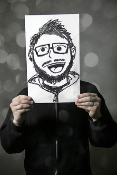 FUN art party idea... have everyone draw self portraits then take photos like this one :)
