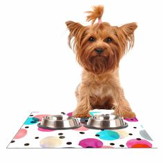 "Crystal Walen ""Festive Watercolor Dots "" Pink Black Dog Place Mat"