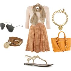 spring or summer outfit with yellow bag