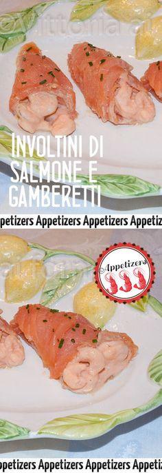 Involtini di salmone affumicato con gamberetti