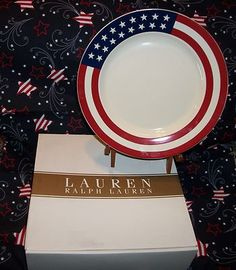 RALPH LAUREN HAMPTON'S FLAG STARS AND STRIPES DESSERT PLATES -SET OF FOUR NIB $45.60 MOTHER'S DAY SALE!!