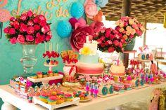 Look at all this yummy food!  Floral Flamingo Party at Kara's Party Ideas. See more at karaspartyideas.com!