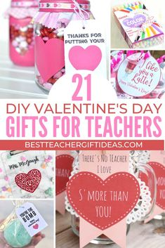 Make easy and cheap Valentines gifts for teachers that any teacher will love to receive. 21 Easy Valentines Teacher Gifts To Make - Best Teacher Gift Ideas Meraki Mother merakimoth Diy Valentine's Gifts For Teachers, Preschool Teacher Gifts, Best Teacher Gifts, Student Gifts, Teacher Presents, Classroom Activities, Cheap Valentines Day Gifts, Teacher Valentine, Valentines Day Activities