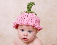 Pattern Flower Baby Hat Tulip Crochet Pattern Quick by TheTwistedK Crochet Flower Hat, Flower Hats, Crochet Baby Hats, Crochet Beanie, Crochet For Kids, Baby Flower, Easter Crochet Patterns, Vintage Crochet Patterns, Flower Costume