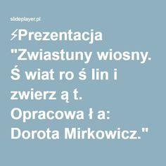 """⚡Prezentacja """"Zwiastuny wiosny. Ś wiat ro ś lin i zwierz ą t. Opracowa ł a: Dorota Mirkowicz."""""""