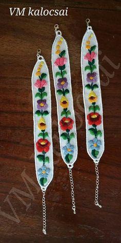 Kézzel hímzett, riseliőzött kalocsai mintás karkötők Embroidery, Needlepoint, Crewel Embroidery, Embroidery Stitches