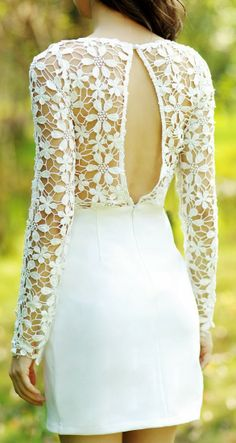 beautiful rehearsal dinner dress  Super cute crochet detail open back dress fashion