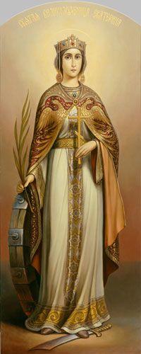 Santa Aekaterina, dressed as Byzantine Empress Religious Images, Religious Icons, Religious Art, Saint Catherine Of Alexandria, Saint Katherine, Religious Tolerance, Russian Icons, Byzantine Icons, Catholic Prayers